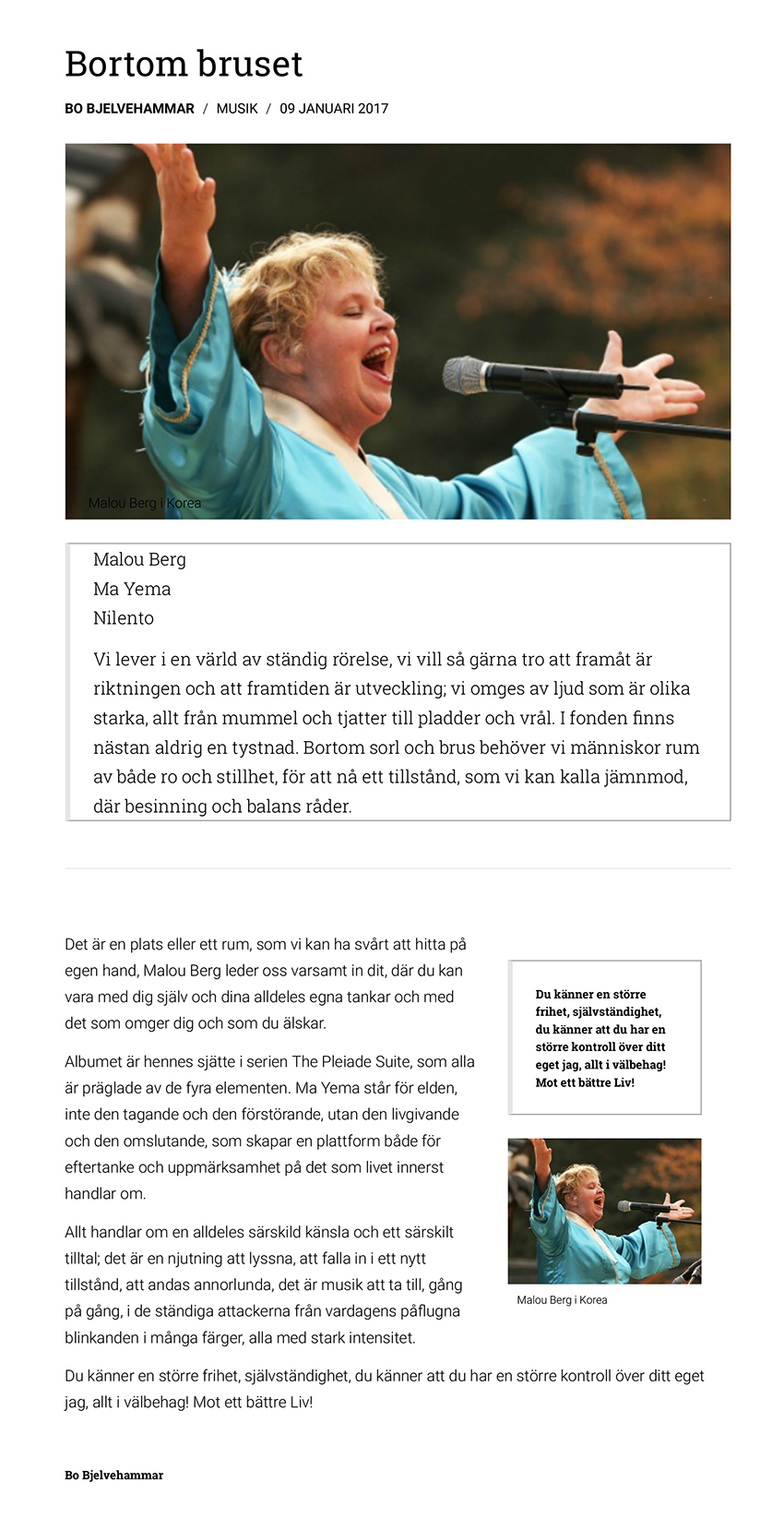 Tidningen Kulturens recension av Ma Yema 9 jan 2017