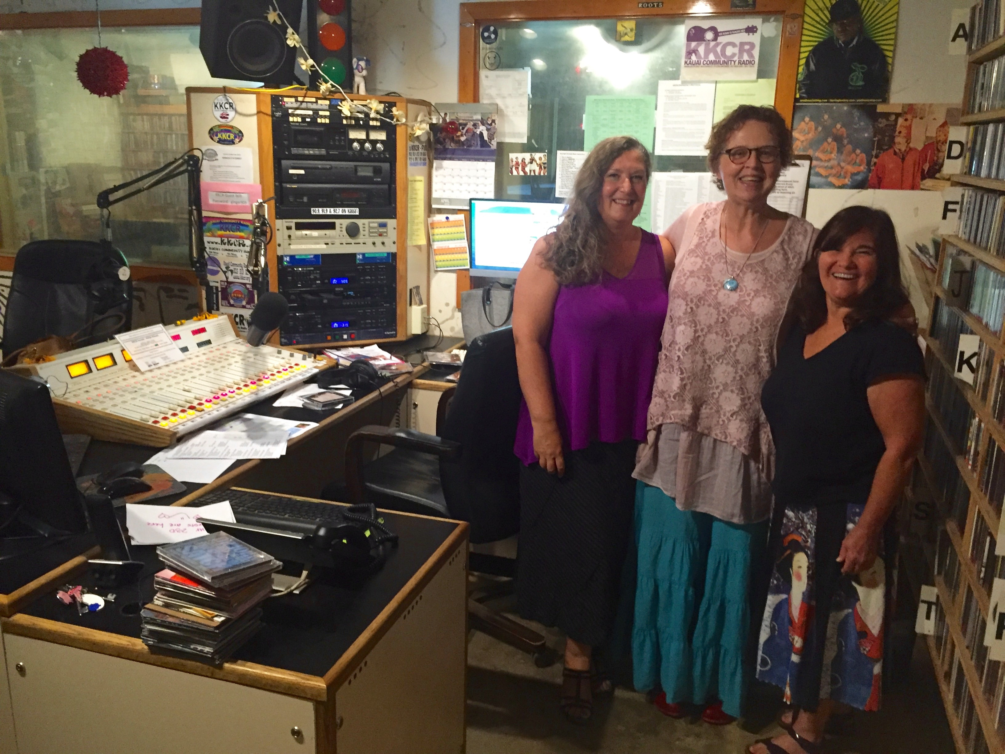 Malou Berg and El Herington with Tracey Shaney at KKCR radio station, Kauai
